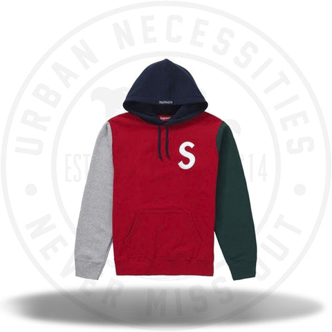 Supreme S Logo Colorblocked Hooded Sweatshirt Red SS19-Urban Necessities