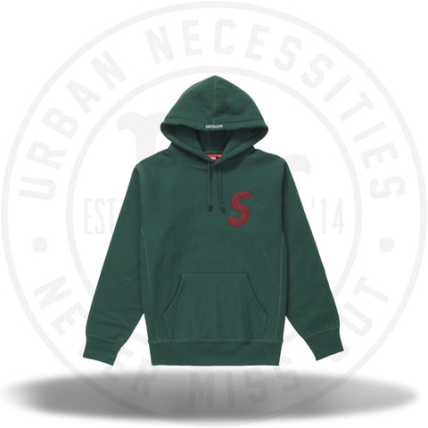 Supreme S Logo Hooded Sweatshirt (FW18) Dark Green-Urban Necessities