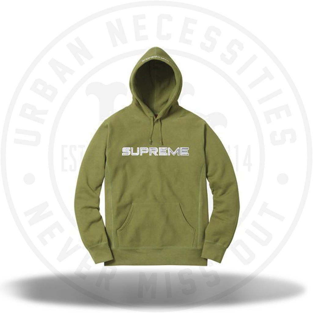 Supreme Sequin Logo Hooded Sweatshirt Moss SS17-Urban Necessities