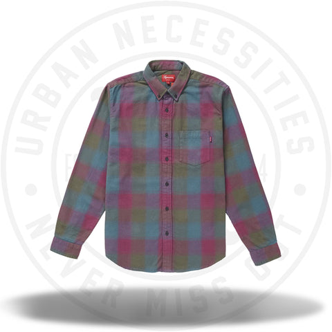 Supreme Shadow Plaid Flannel Shirt Dark Magenta-Urban Necessities