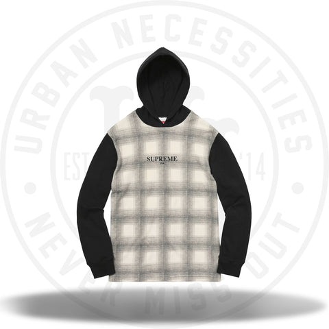 Supreme Shadow Plaid Hooded L/S Top Black-Urban Necessities