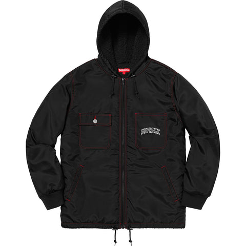 Supreme Sherpa Lined Nylon Zip Up Jacket Black FW18-Urban Necessities