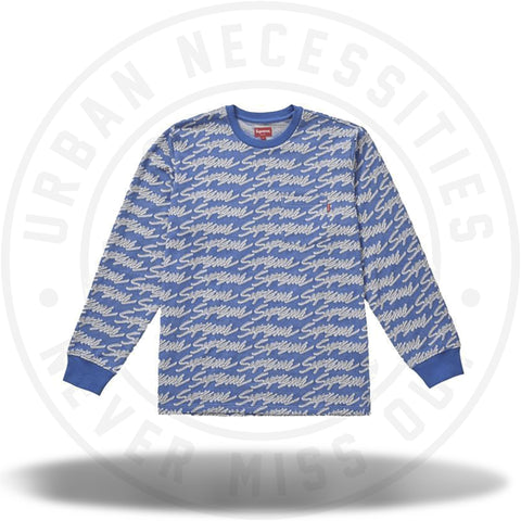 Supreme Signature Script Logo L/S Pocket Tee Royal-Urban Necessities