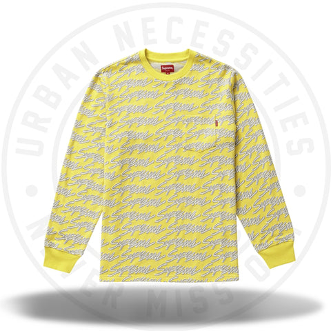 Supreme Signature Script Logo L/S Pocket Tee Yellow-Urban Necessities