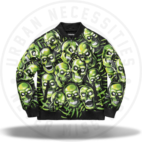 Supreme Skull Pile Leather Bomber Jacket Green-Urban Necessities