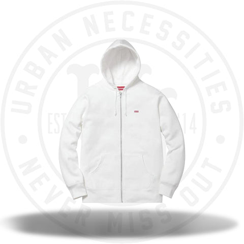 Supreme Small Box Logo Zip Up Hooded Sweatshirt White-Urban Necessities