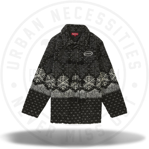Supreme Snowflake Toggle Fleece Jacket Black-Urban Necessities