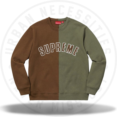 Supreme Split Crewneck Sweatshirt Brown (FW18)-Urban Necessities
