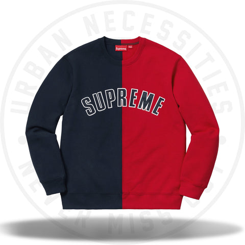 Supreme Split Crewneck Sweatshirt Navy-Urban Necessities