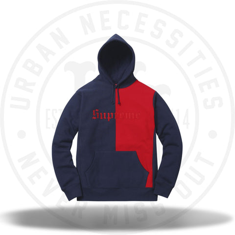 Supreme Split Old English Hooded Sweatshirt Navy-Urban Necessities