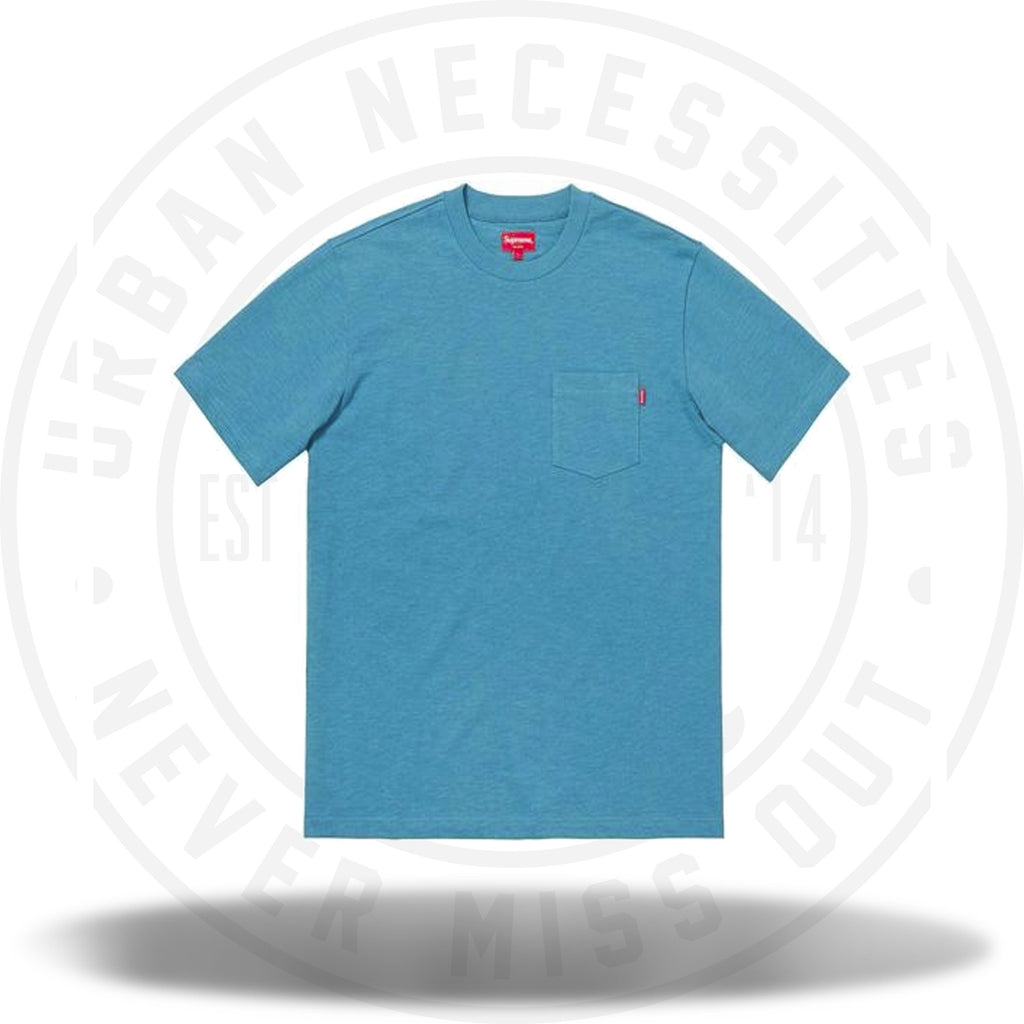 Supreme SS Pocket Tee (FW18) Dusty Blue-Urban Necessities