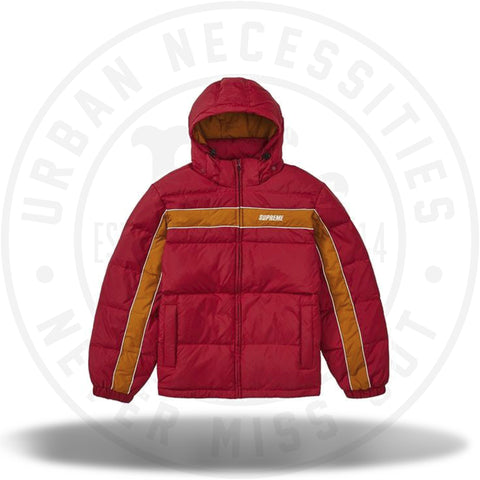 Supreme Stripe Panel Down Jacket Burgundy-Urban Necessities