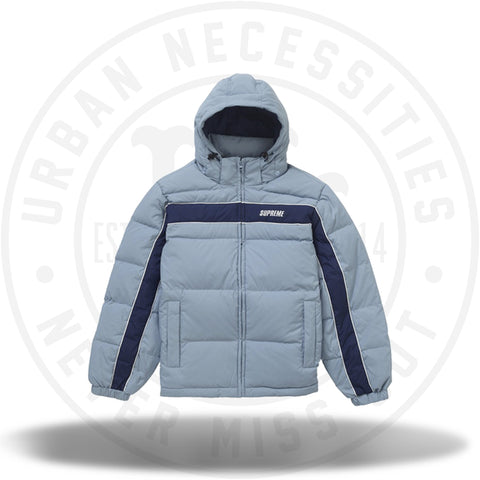 Supreme Stripe Panel Down Jacket Light Blue-Urban Necessities