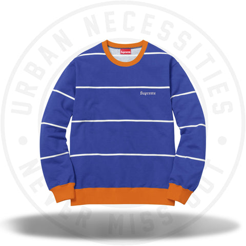 Supreme Striped Crewneck Royal-Urban Necessities