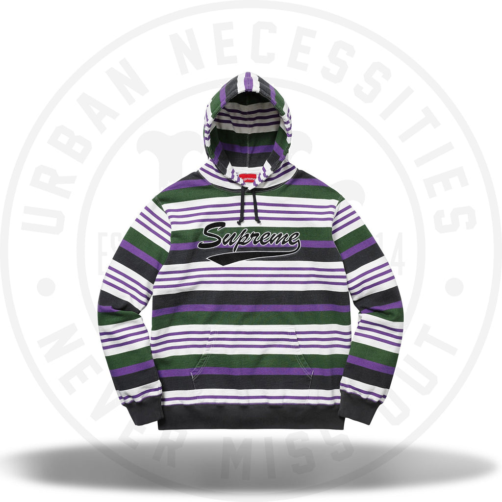 Supreme Striped Hooded Sweatshirt Purple-Urban Necessities