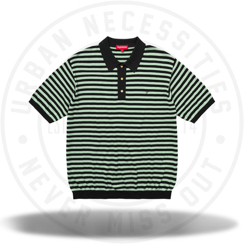 Supreme Striped Knit Polo Light Sage-Urban Necessities