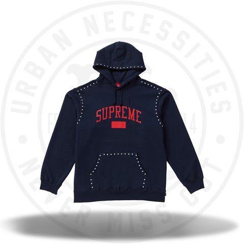 Supreme Studded Hooded Sweatshirt (FW18) Navy-Urban Necessities