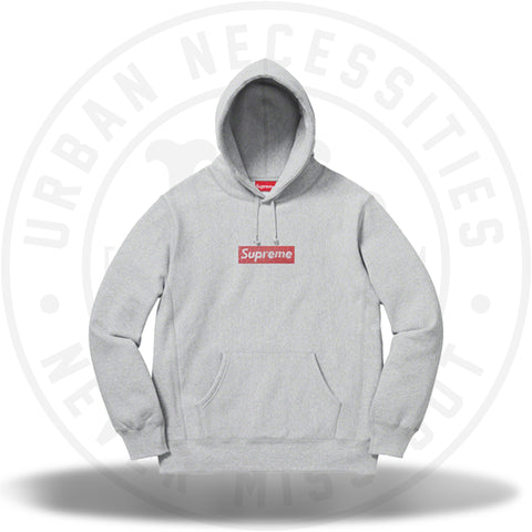 Supreme Swarovski Box Logo Hooded Sweatshirt Heather Grey-Urban Necessities