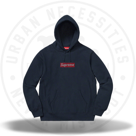 Supreme Swarovski Box Logo Hooded Sweatshirt Navy-Urban Necessities