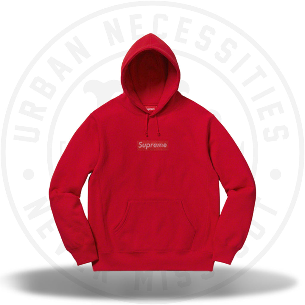 Supreme Swarovski Box Logo Hooded Sweatshirt Red-Urban Necessities