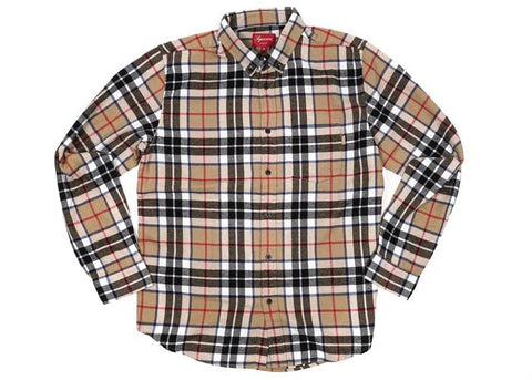 Supreme Tartan L/S Flannel Shirt Tan-Urban Necessities