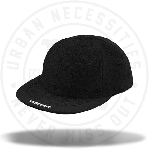 Supreme Terry Visor Logo 6-Panel Black-Urban Necessities