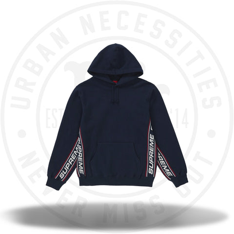 Supreme Text Rib Hooded Sweatshirt Navy-Urban Necessities