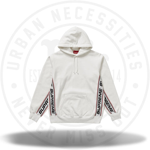 Supreme Text Rib Hooded Sweatshirt White-Urban Necessities