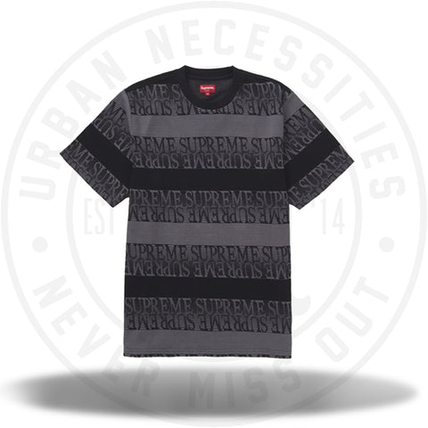 Supreme Text Stripe Jacquard S/S Top Black-Urban Necessities