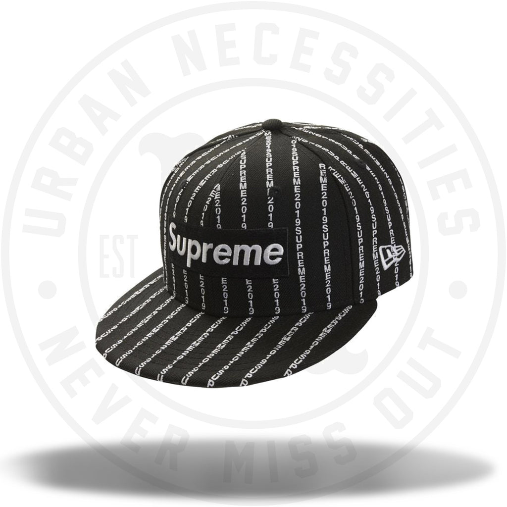 Supreme Text Stripe New Era Cap Black-Urban Necessities