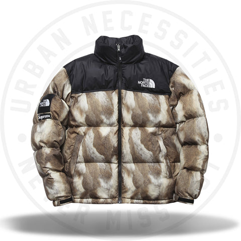 Supreme The North Face Fur Print Nuptse Brown-Urban Necessities