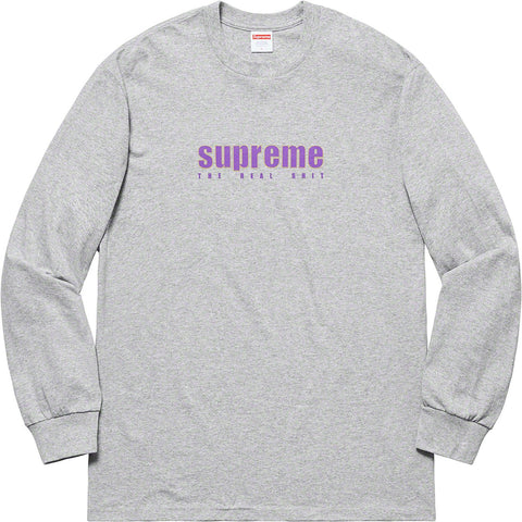Supreme The Real Shit L/S Tee Heather Grey SS19-Urban Necessities