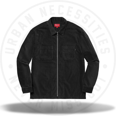 Supreme Velvet Zip Up Shirt Black-Urban Necessities