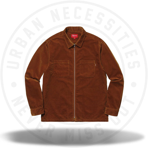 Supreme Velvet Zip Up Shirt Rust-Urban Necessities