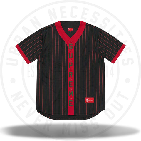 Supreme Vertical Logo Baseball Jersey Black/Red-Urban Necessities