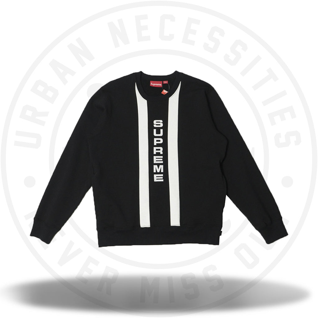 Supreme Vertical Logo Panel Crewneck Black-Urban Necessities
