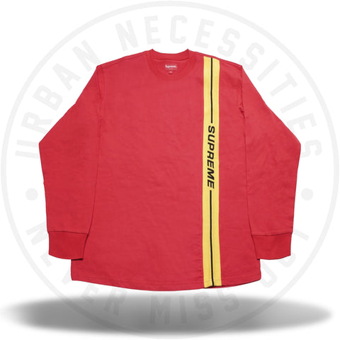 Supreme Vertical Logo Stripe L/S Top Red-Urban Necessities