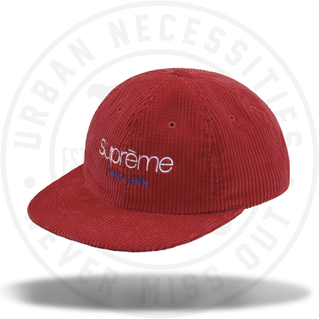 Supreme Waffle Cord Classic Logo 6-Panel Red-Urban Necessities