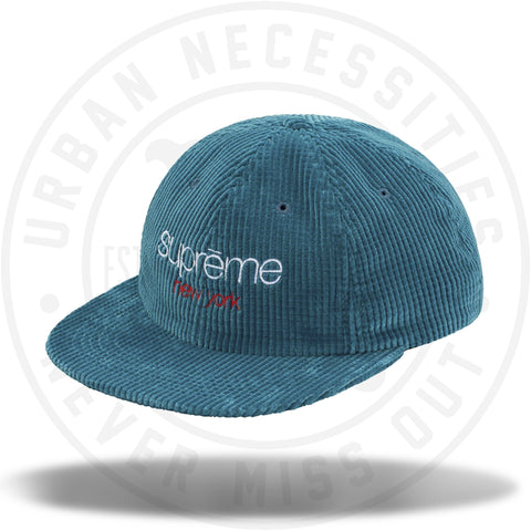 Supreme Waffle Cord Classic Logo 6-Panel Teal-Urban Necessities