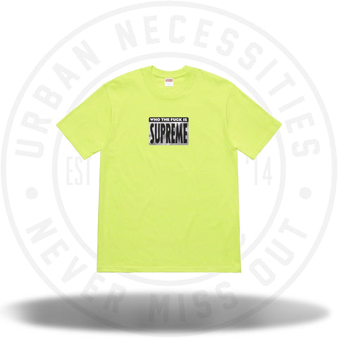 Supreme Who The Fuck Tee Neon Green-Urban Necessities