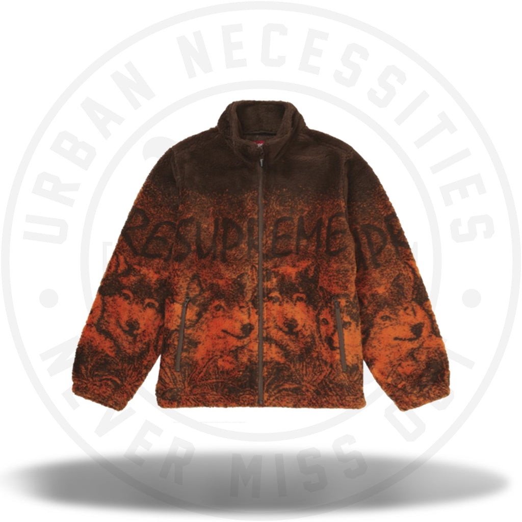Supreme Wolf Fleece Jacket Brown-Urban Necessities