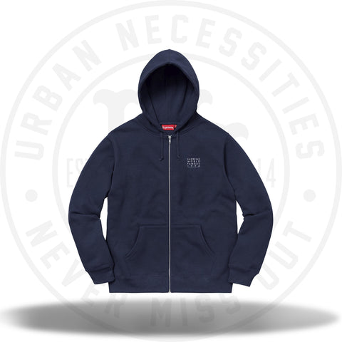 Supreme World Famous Zip Up Hooded Sweatshirt Navy-Urban Necessities