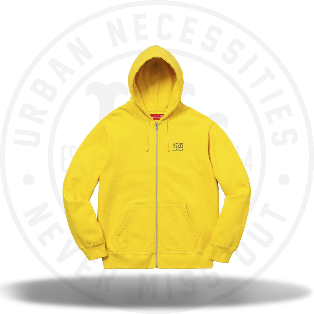 Supreme World Famous Zip Up Hooded Sweatshirt Yellow-Urban Necessities