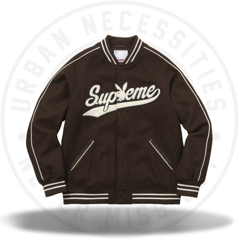 Supreme x Playboy Wool Varsity Jacket Brown-Urban Necessities