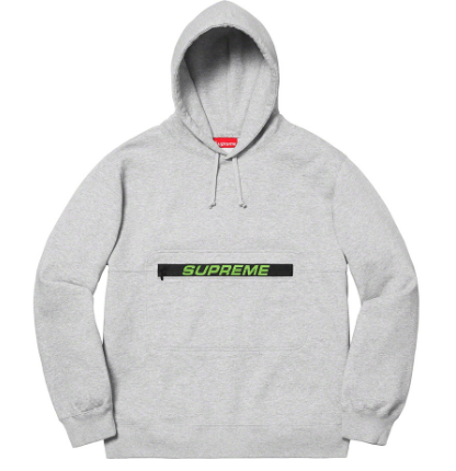 Supreme Zip Pouch Hooded Sweatshirt - Heather Grey-Urban Necessities