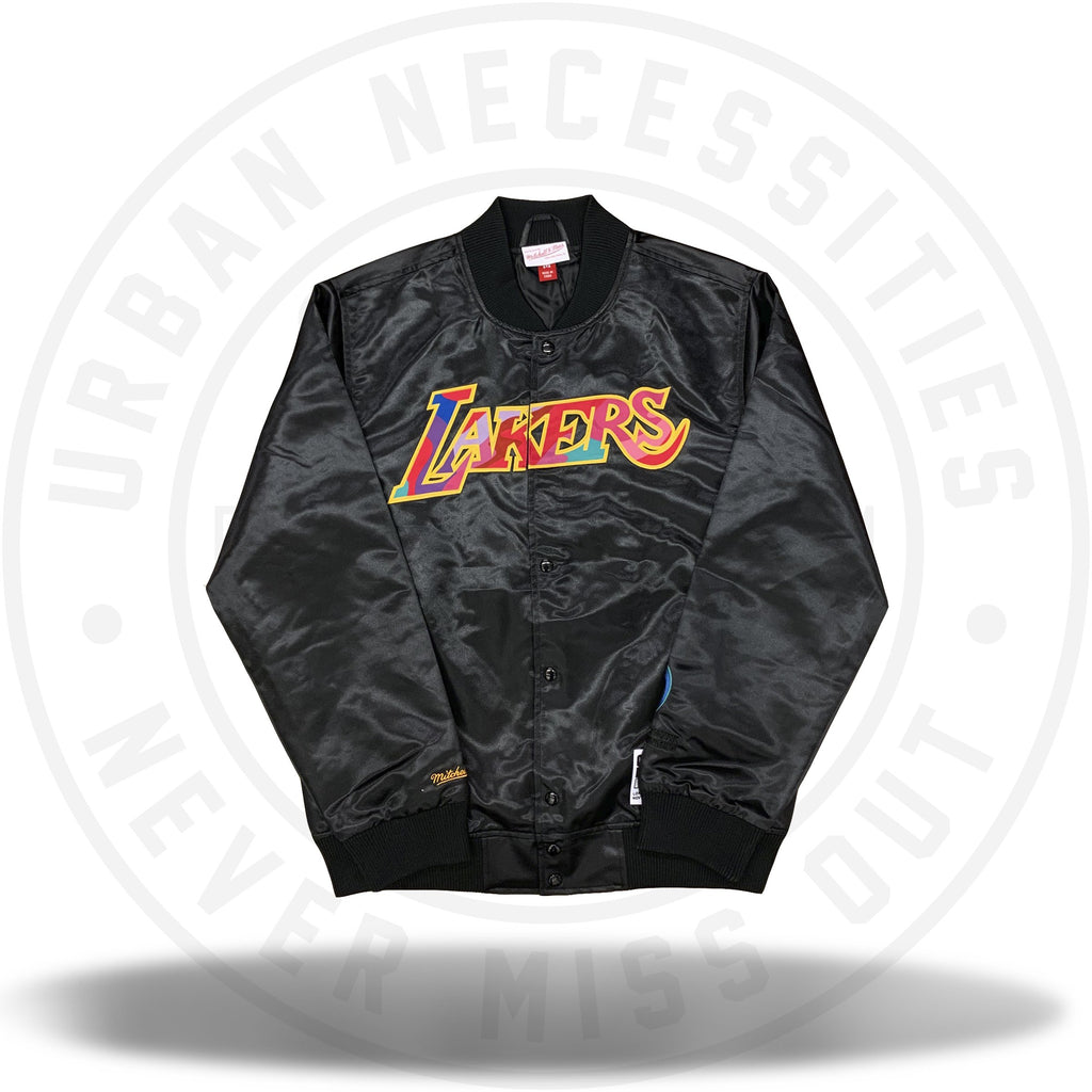 Takashi Murakami ComplexCon x LA Lakers Mitchell and Ness Satin Jacket Black-Urban Necessities
