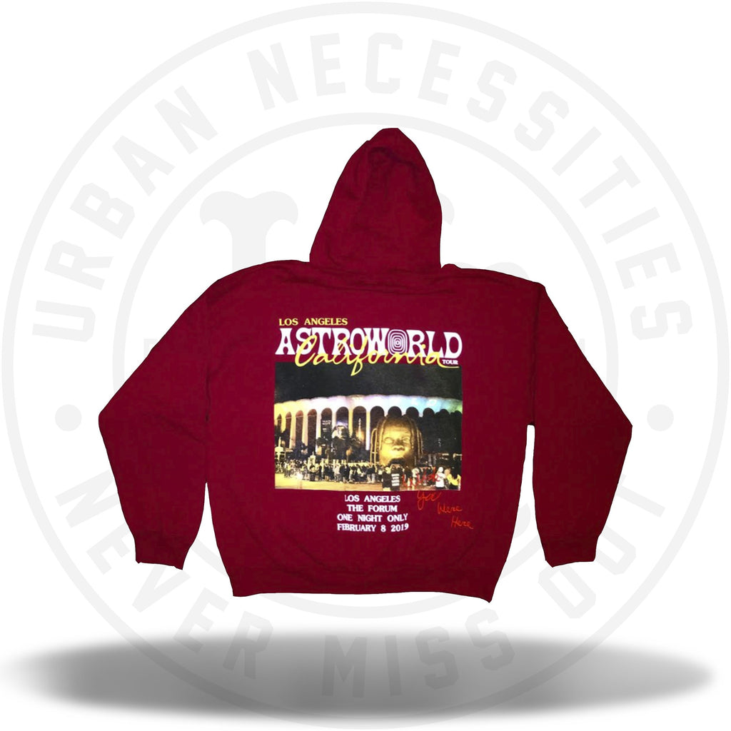 Travis Scott Astroworld Los Angeles California Merch Hoodie Red-Urban Necessities