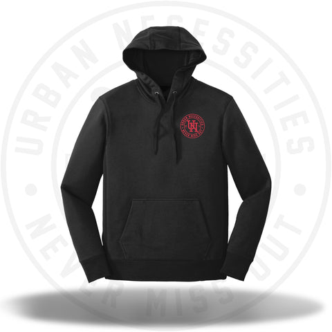 UN Stamp Puffer Print Hoodie Black/Red-Urban Necessities