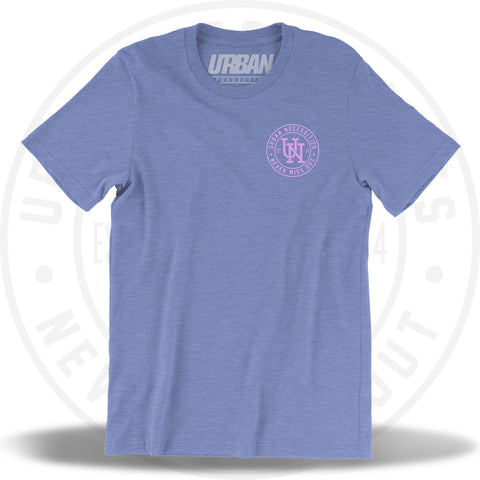 UN Stamp Tee Columbia Heather Blue/Pastel Pink-Urban Necessities