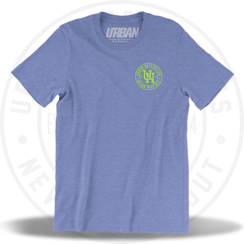 UN Stamp Tee Columbia Heather Blue/Volt Green-Urban Necessities